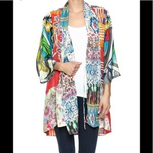 JOHNNY WAS silk Kimono XL multi print (4E8)